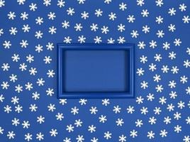 Frame and snowflakes confetti on navy background. photo