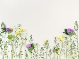 Mix of wildflowers on beige background with copy space. photo