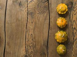 Variety of pumpkins on a wooden background. Harvest concept flat lay with copy space. photo