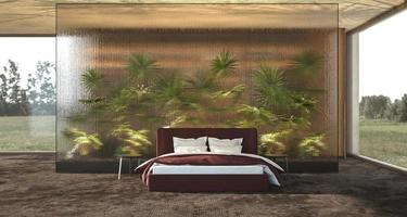 Diseño de interiores de dormitorio moderno de lujo con mampara de vidrio decorativo y plantas - palmeras foto