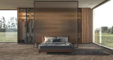 Diseño de interiores de dormitorio moderno de lujo con mampara de vidrio decorativo y ventanas panorámicas con vista de campo foto