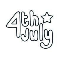 fourth of july lettering independence day line vector