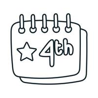 calendar with stars fourth july line style vector