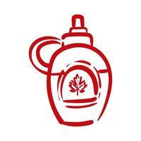 frasco de botella con estilo de dibujo a mano canadiense de hoja de arce vector
