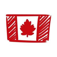 canada flag hand draw style icon vector