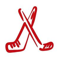 hockey clubs hand draw style icon vector