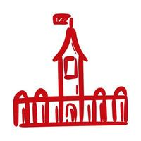 castle canadian hand draw style icon vector