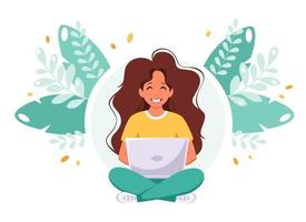 Woman sitting with laptop Freelance remote working home office concept vector