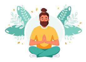 Man meditating in lotus pose Healthy lifestyle International day of yoga vector