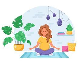 Pregnant woman meditating in lotus pose in cozy interior Pregnancy health concept vector