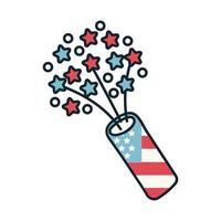 fireworks with usa flag line and fill style icon vector