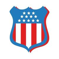 shield with usa flag flat style vector