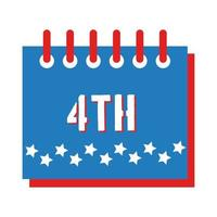 calendar with stars fourth july flat style vector