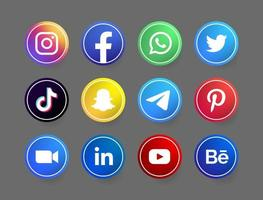 circle social media button with white line vector