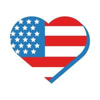 heart with usa flag flat style vector