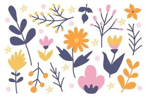 A cute set of plants and flowers on a white background, hand-drawn in a doodle style. Vector flower decor for invitations, postcards, stickers