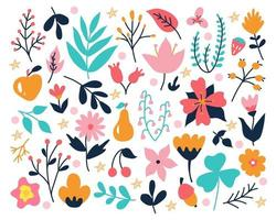 A bright set of plants and flowers on a white background, hand-drawn in the style of doodles. Vector flower decor for invitations, postcards, stickers