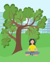 Woman doing yoga in nature vector