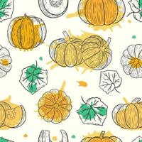 Seamless fall pattern with pumpkins and leaves vector