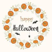 Happy halloween round frame made of pumpkin and leaves with lettering vector