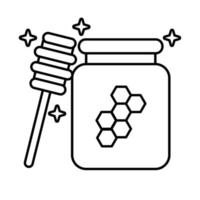 sweet honey pot and wooden spoon line style icon vector
