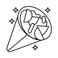 delicioso icono de estilo de línea de burrito mexicano vector
