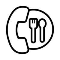 restaurant telephone with cutleries flat style vector