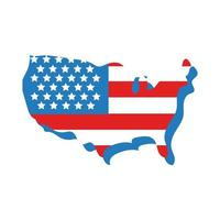usa map with flag flat style vector