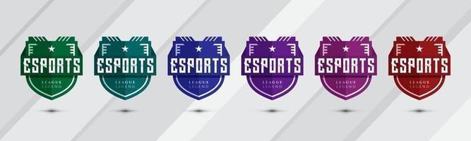 Esports shield badge design icons. Creative emblem sport team logos vector