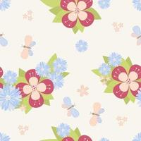 Seamless pattern flowers and leaves on a light background with butterflies vector