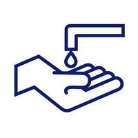 hand washing with faucet and drop line style vector