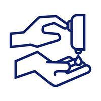 lavarse las manos con el icono de estilo de línea de dispensador de jabón vector