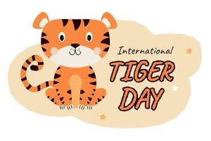 International Tiger Day July 29 Cute striped sitting tiger vector