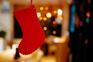 Christmas red stocking. photo