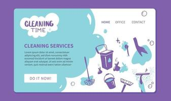 Cleaning Service website landing page template Doodle style illustration Banner for professional cleaners Vector design
