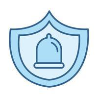 salud sexual anticoncepción preservativo condón línea relleno icono azul vector