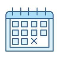 salud sexual calendario anticonceptivo fertilidad conciencia línea llenar icono azul vector