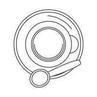tea top view cup with spoon on saucer line icon style vector