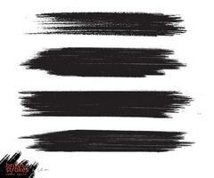Ink brush stroke grunge paint set vector