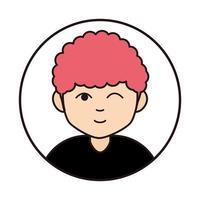 icono de línea redonda de personaje de dibujos animados de expresión de gui vector