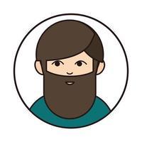 bearded man portrait cartoon round line icon vector