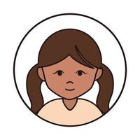 cute girl brunette cartoon character female round line icon vector