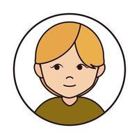 mujer personaje de dibujos animados rubio pelo corto icono de línea vector