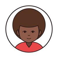 afro american boy portrait cartoon round line icon vector