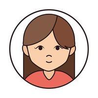 woman cartoon character portrait brunette female round line icon vector