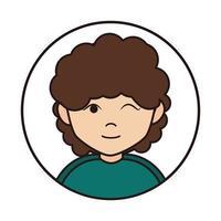 gesto de guiño de mujer joven y icono de línea redonda de dibujos animados de pelo rizado vector