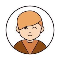 niño lindo guiño expresión personaje de dibujos animados icono de línea vector