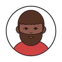 afro american bearded man portrait cartoon round line icon vector
