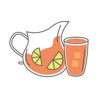 tea glass pitcher cup with sliced lime line and fill vector