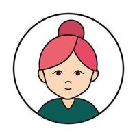 woman cartoon character portrait with bun hair round line icon vector